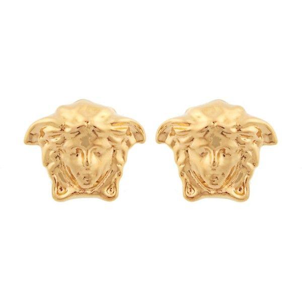 Versace Medusa earrings ($107) ❤ liked on Polyvore featuring jewelry, earrings, versace jewelry, gold tone earrings, versace, versace earrings and stud earrings