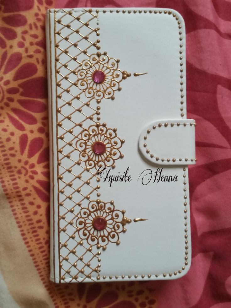 Phone Case for iPhone 6Plus, only £12. Hand-decorated phone case with golden colour and fuchsia crystals. An ideal eyecatching gift idea. Personal message or name can be added.
