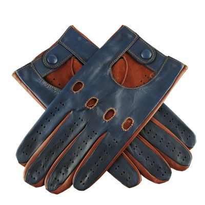 Leather Driving Gloves, Men's Driving Gloves - Navy and Tobacco Italian Leather Driving Gloves