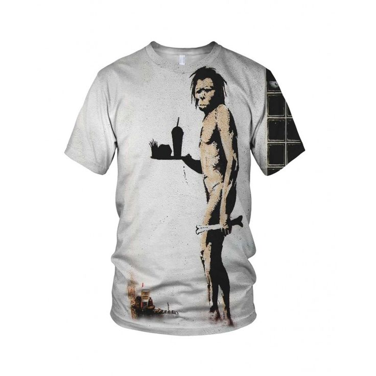 """Caveman Fast Food, from the collection of """"Hand Printed"""" Designs by the prolific street artist known as """"Banksy"""".   More Designs and Styles on the Store: http://www.globalmusicollective.com/store/?product_cat=banksy"""
