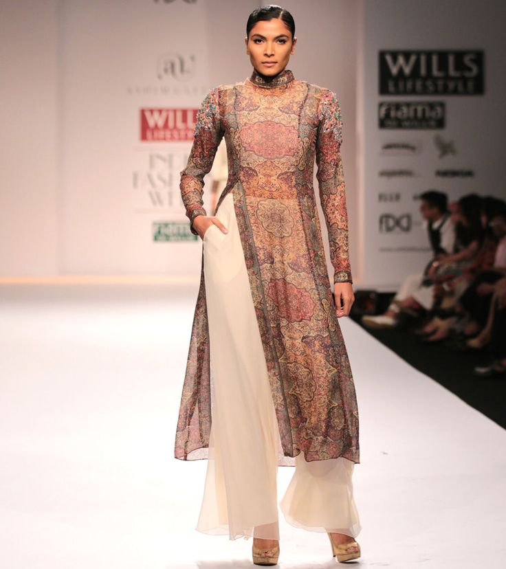 White Long Digitally Printed & Applique Work Chiffon & Organza Kurta With Pants