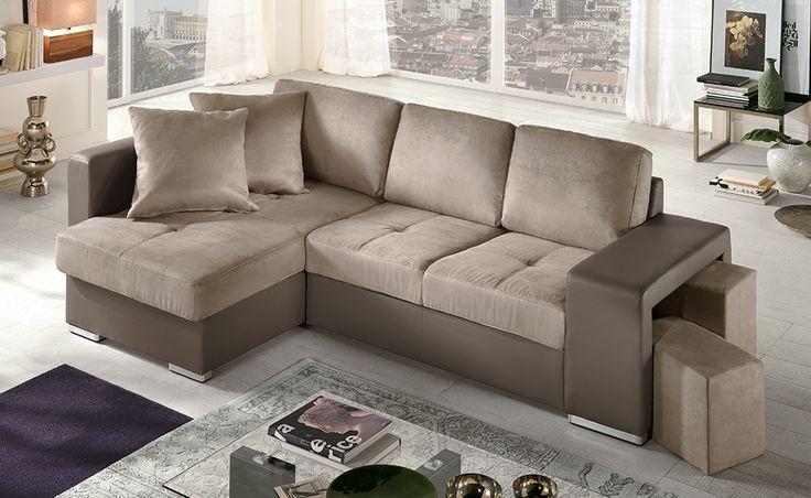 Scopri il nostro divano Sempre, in similpelle marrone/tessuto fango: un modello avvolgente nella morbidezza di seduta e cuscini d'appoggio.