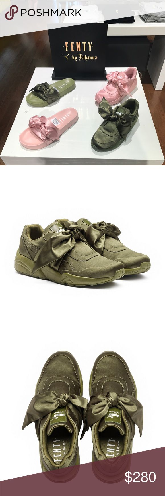 Authentic Rihanna Fenty Puma Purchased 3/9 Receipt availableAll over satin upper with a tonal outsole, the sneaker features a delicate satin bow and the PUMA by Rihanna signature tongue patch. Features All over satin upper PUMA by Rihanna sign off patch FENTY PUMA by Rihanna on footbed Puma Shoes Sneakers