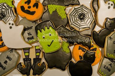 Sweet Handmade Cookies - Halloween cookies, spiderweb cookies, frankenstein cookies, witch feet cookies, tombstone cookies, ghost cookies, jack-o-lantern cookies, black cat cookies