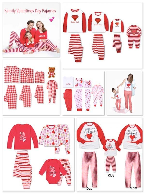 Family Valentines Pajamas Mommy Daddy Me Mother Daughter