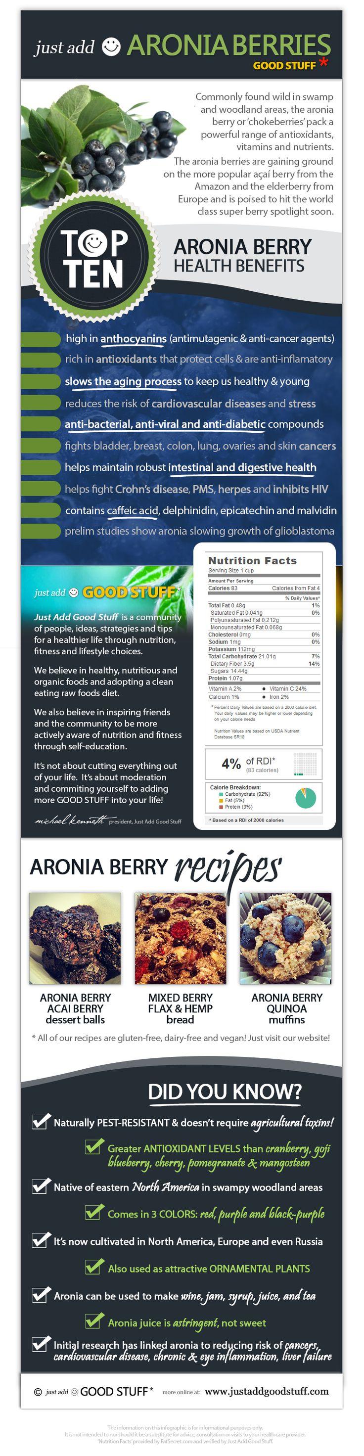 Just Add Aronia Berries! O listă scurtă de beneficii și trei idei de rețete într-un infografic.