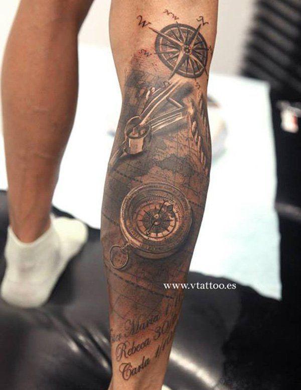 7 leg tattoo: