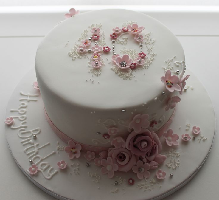 floral 40th birthday cake - Jill the Cakemaker