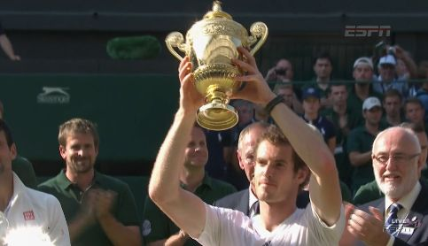 Andy Murray becomes the first British man to win Wimbledon in 77 years as he defeats Novak Djokovic  6-4 7-5 6-4 on 7th July, 2013. ///Djokovic vs Murray Men's Wimbledon Final 2013: Live Score, Highlights, Analysis
