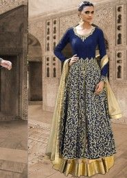 Bridal Wear Bhagalpuri Silk Blue Antique Work Straight Suit