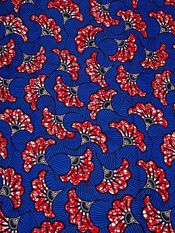 Tissu wax imprimé bleu motif africain feuille rouge en coton rw089315_4