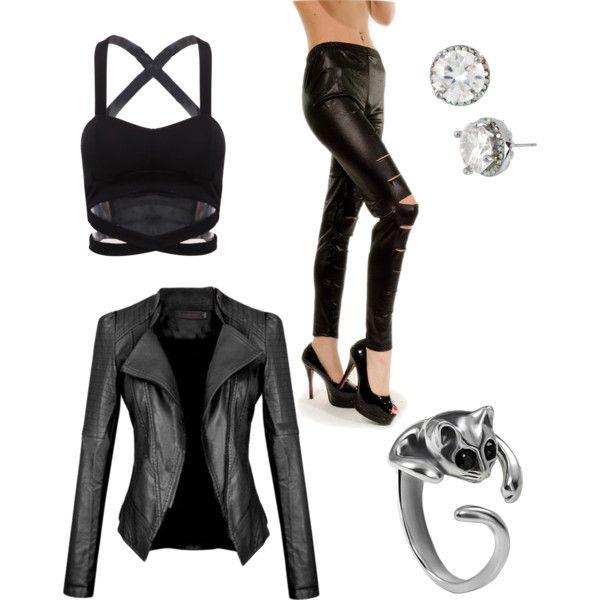 cat woman inspired outfit  by wolfie112-99 on Polyvore featuring polyvore fashion style Betsey Johnson