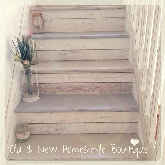 My beachcottage staircase painted with chalk paint & decoupaged with wood effect wallpaper ❤️