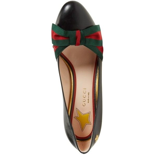 Women's Gucci 'Aline' Block Heel Pump (9.250.450 IDR) ❤ liked on Polyvore featuring shoes, pumps, striped shoes, star pumps, bow shoes, gucci and leather footwear