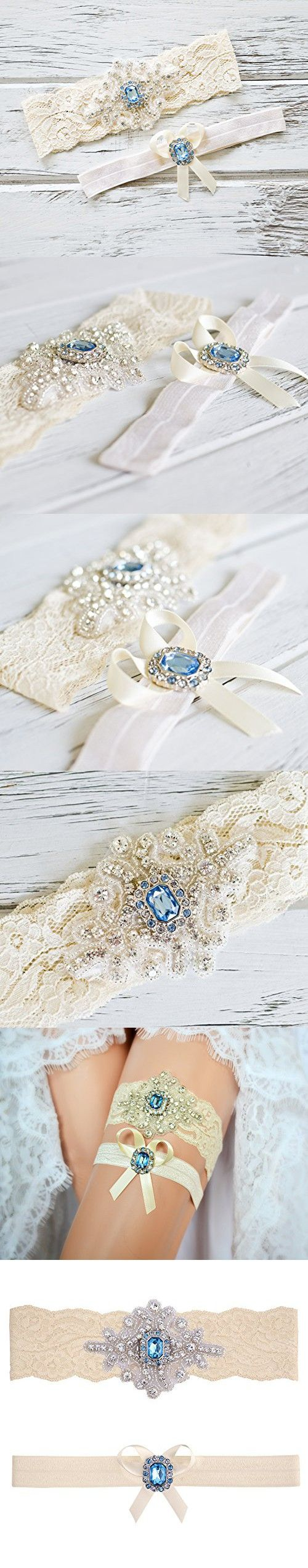 "Blue Topaz Wedding Bridal Garter Set (Large (20"" - 21""), Ivory Lace)"