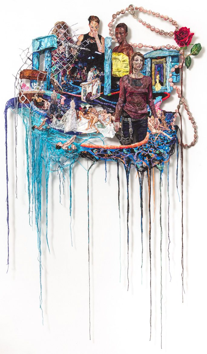 """Sophia Narrett, """"Something Went Wrong"""" (2014–15), embroidery thread and fabric, 59 x 35 in (image courtesy Arts+Leisure)"""