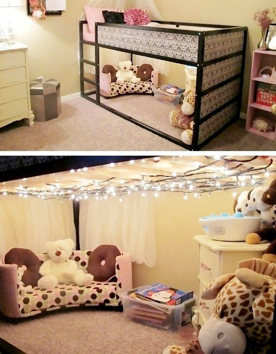 IKEA Kura bed nook w/ twinkly lights.