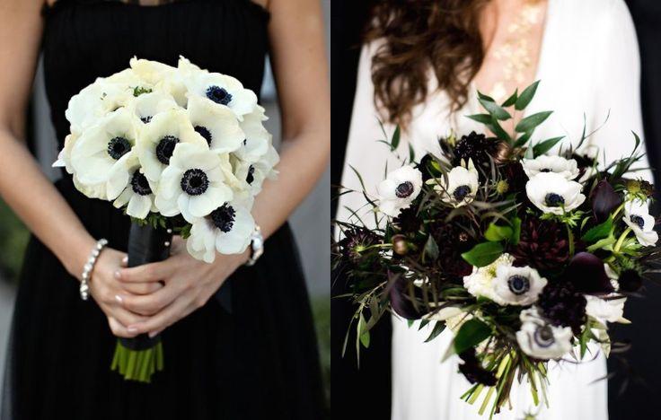 Черно-белые анемоны http://phuketflowers.blogspot.com/2017/05/blog-post_2.html  Пожалуй, самые неоднозначные цветы, и самые популярные между тем! Современные невесты очень любят этот нежный весенний цветок, часто выбирая его для своего свадебного букета. Анемоны бывают совершенно разных раскрасок, причем меняется цвет как у лепестков, так и у сердцевины. Неоднозначность цветка прослеживается во многих нюансах. Во-первых, это зимний и весенний цветок. Летом их почти невозможно отыскать, жару…