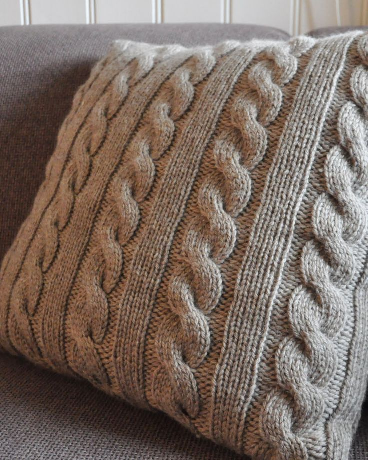 Knitted cable pillow