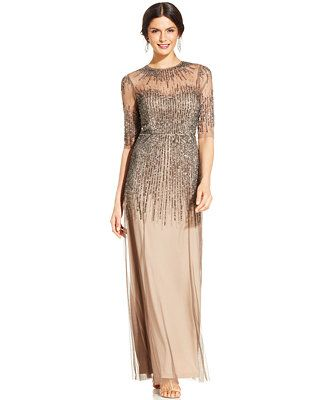 Adrianna Papell Elbow-Sleeve Illusion Embellished Gown