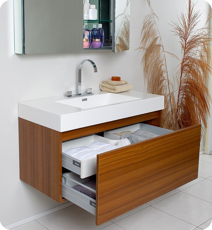 fresca mezzo teak modern bathroom cabinet for the ensuite - Modern Bathroom Sink Designs
