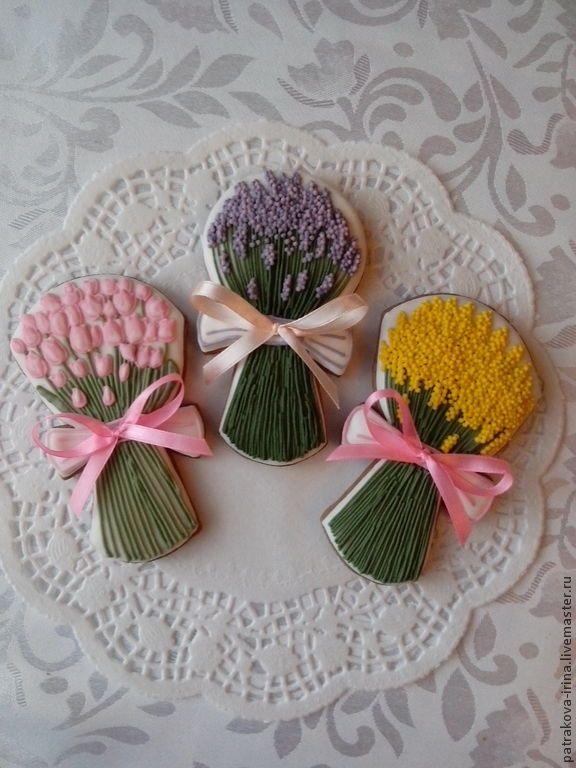 """Купить Пряник """"Букет цветов"""" - розовый, расписные пряники, имбирные пряники, пряники на 8 марта"""