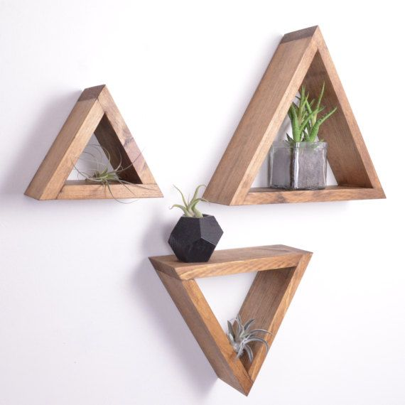 "Set of 3 different size Triangle Shelves | GRAINandGRIT // 12.5"" x 10.5"" x 3.5""; 10"" x 8"" x 3.5""; 7"" x 6"" x 3.5"""