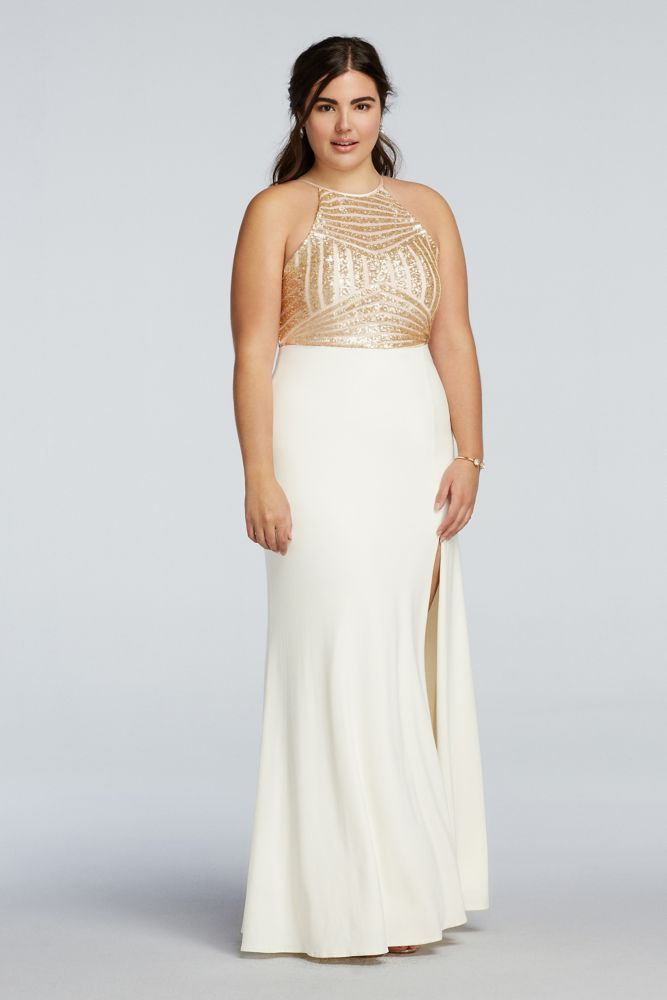 12ee5b435e0 Plus Size Sequin High Neck Prom Dress with Side Slit Skirt - Ivory / Gold,  21 | *Clothing > Dresses* | Prom dresses, Plus size prom dresses, Dresses