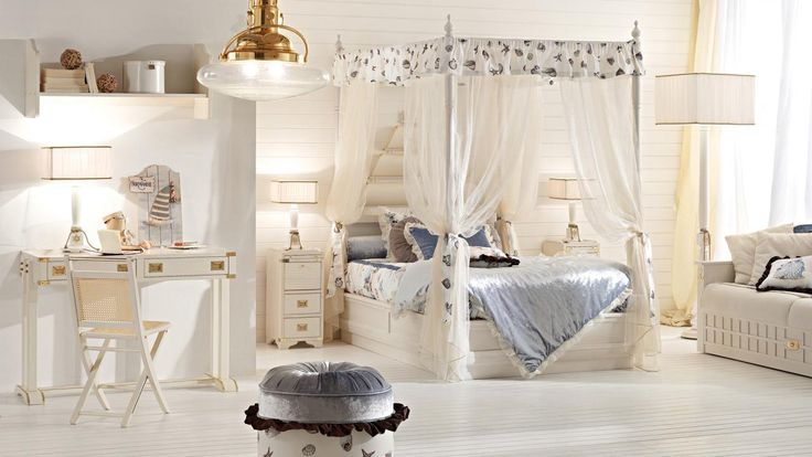 Everyone love #sea, also a young #princess!! Our canopy #bed draped with #seashells and bows will be her kingdom