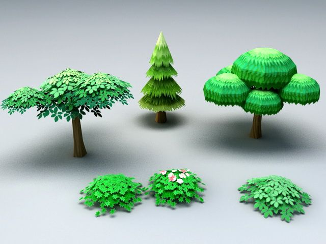 Cartoon Trees And Shrubs 3d Model 3ds Max Files Free Download Modeling 45141 On Cadnav Cartoon Trees Trees And Shrubs Model Tree