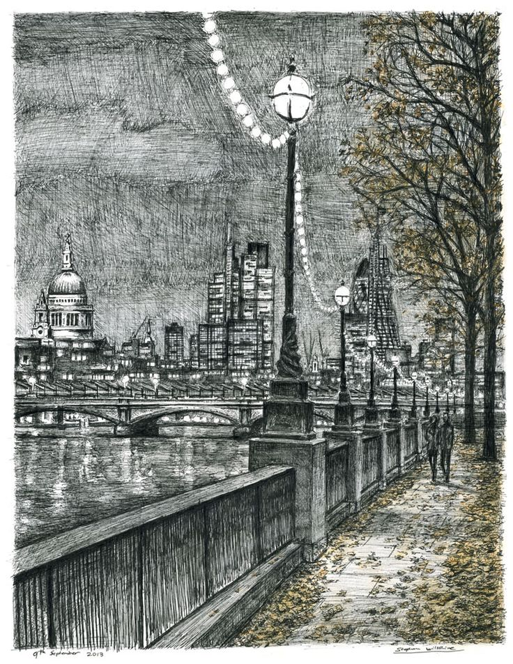 From Southbank on an autumn evening - drawings and paintings by Stephen Wiltshire MBE So beautiful.