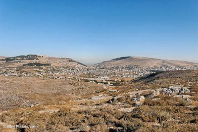 Shechem, one of the towns in Canaan the spies may have visited. It is located between Mount Gerizim and Mount Ebal, looking from the east.