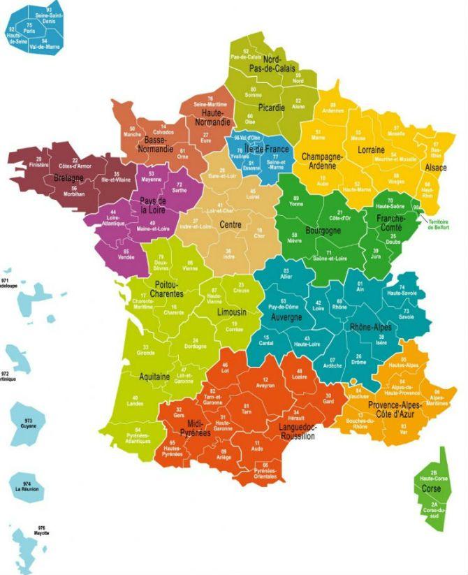 La carte de France en 13 régions | Réforme territoriale: quels noms pour les nouvelles régions? - Droit - Notre Temps