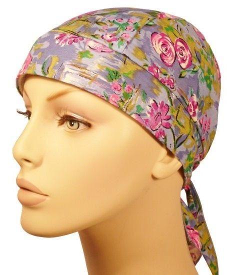 Skull Cap Pink Flowers on Blue & Purple Motorcycle Doo Rag #SE #SkullCap