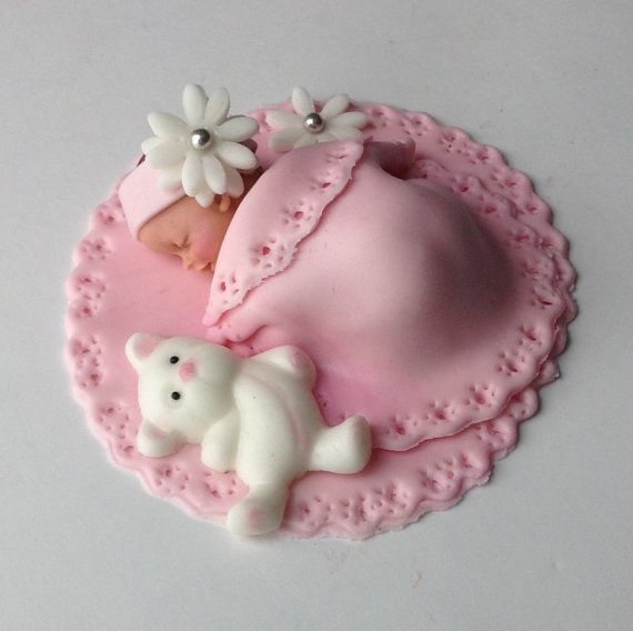 BABY SHOWER CAKE Fondant Cake Topper Baby by BabyCakesByJennifer