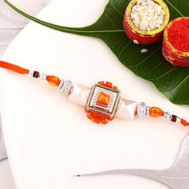 Orange Pyramid Pearl Rakhi rakhi online shopping