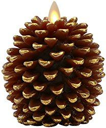 Luminara Pine Cone Candles: 3.5 x 4 Unscented, Battery Operated, Luminara Flameless Candles with Timer (Brown)