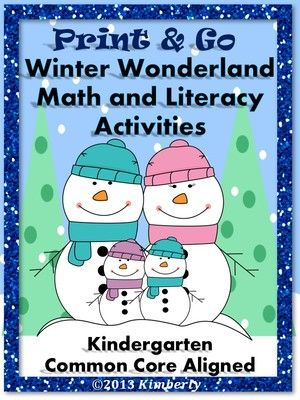 Winter Wonderland Math and Literacy (Print & Go Common Core Aligned) from By Kimberly on TeachersNotebook.com (45 pages)