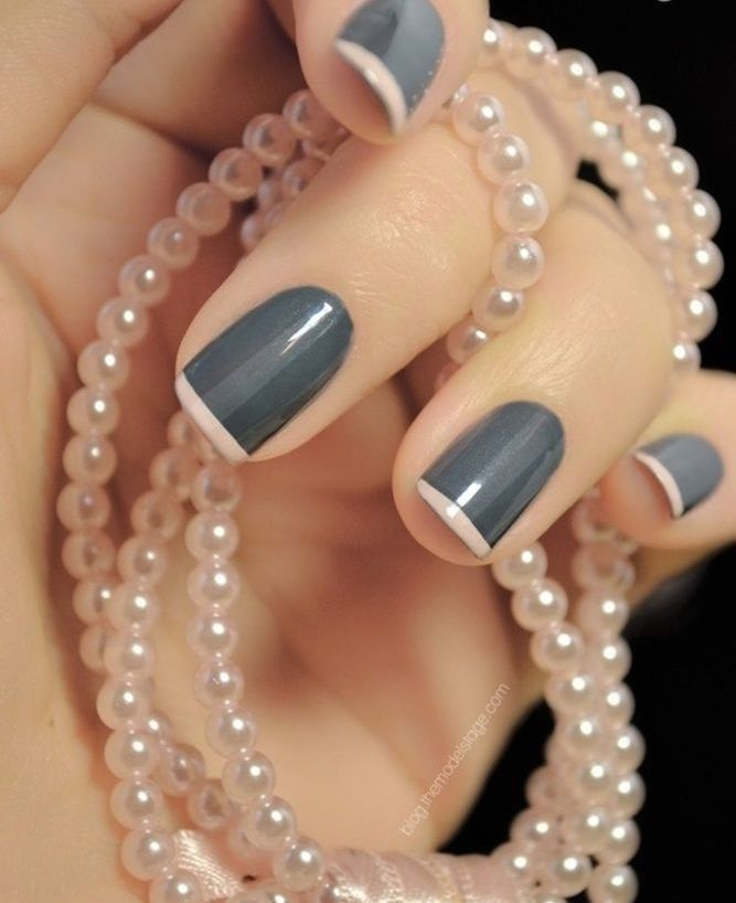 Grey and cream french manicure.