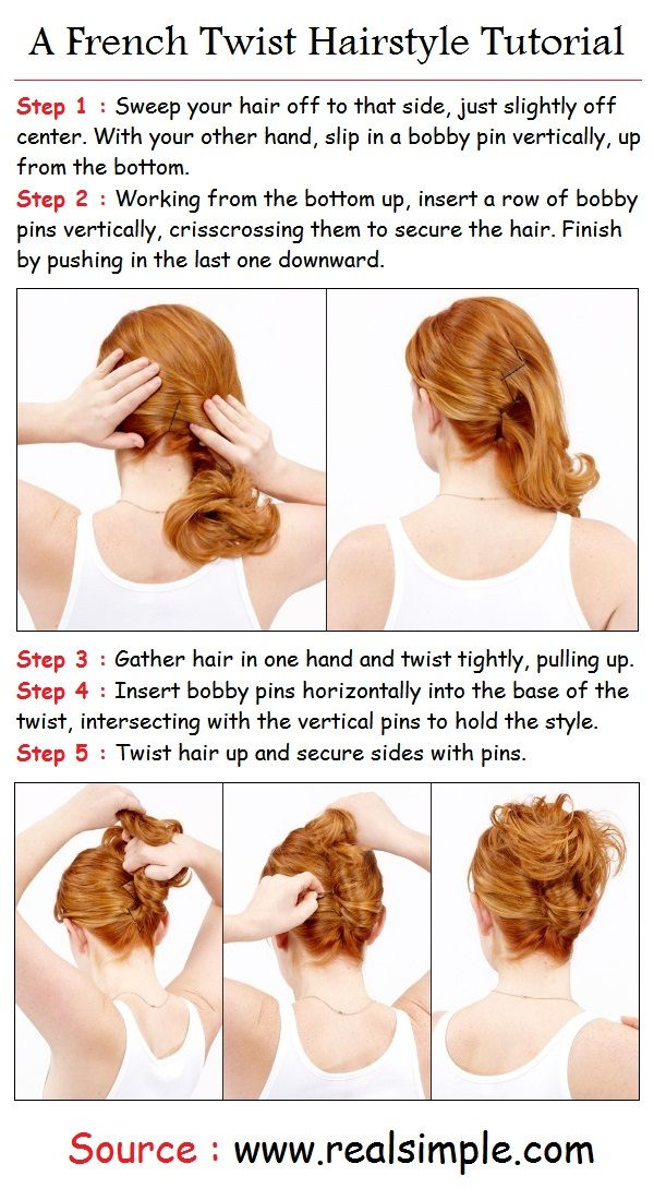 French Twist Tutorial -- Doing this hairstyle on relaxed or pressed hair will yield the same results in the pictures above. Recreating this hair style with long natural hair will give it a cute funky flare.