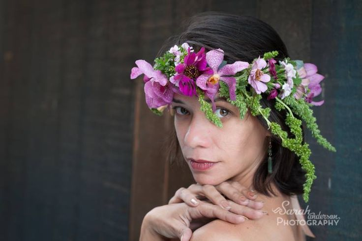 - Grace Flowers Hawaii - Floral crown of green amaranth, orchids, dianthus and zinnias. Unique Hawaiian inspired  flower crowns.
