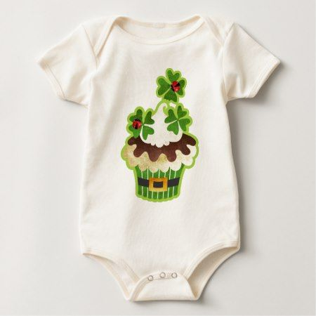 St. Patrick's Day Cupcake Baby Bodysuit - tap, personalize, buy right now!