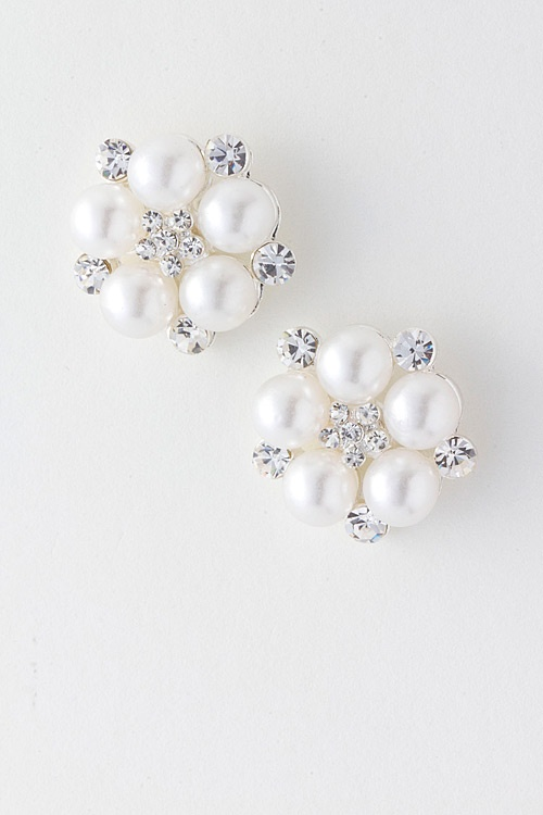 $32  Pearls Flower clusters mixed with Austrian Crystals.