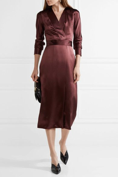 Merlot silk-satin Button and concealed hook and zip fastening at back 100% silk Dry clean Designer color: Wine Imported