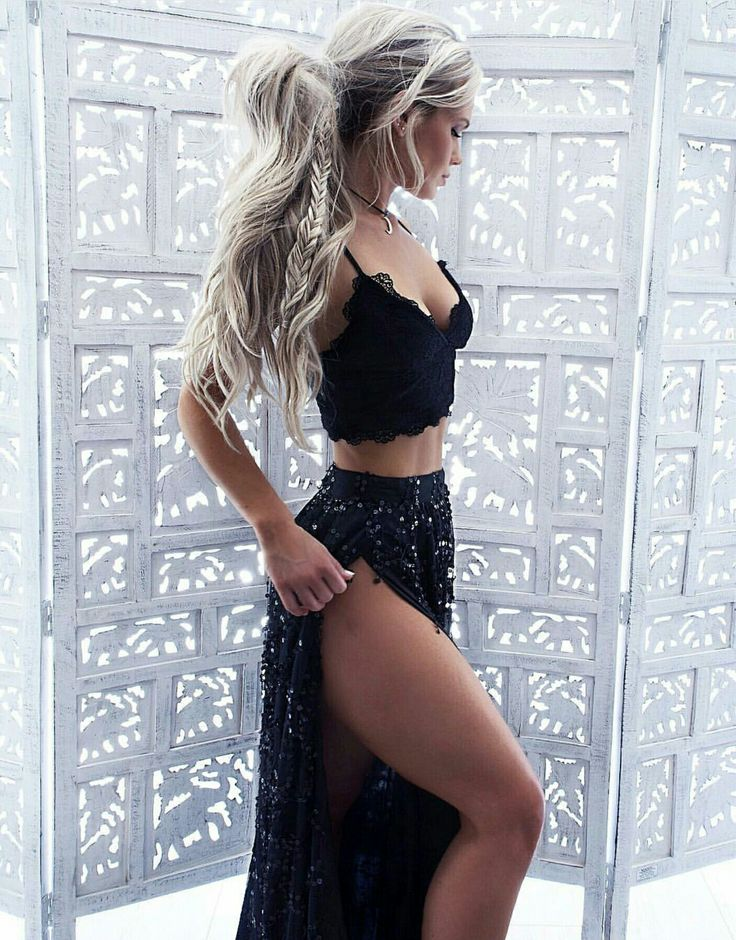 Black on black | lace crop top and maxi skirt with sexy slit