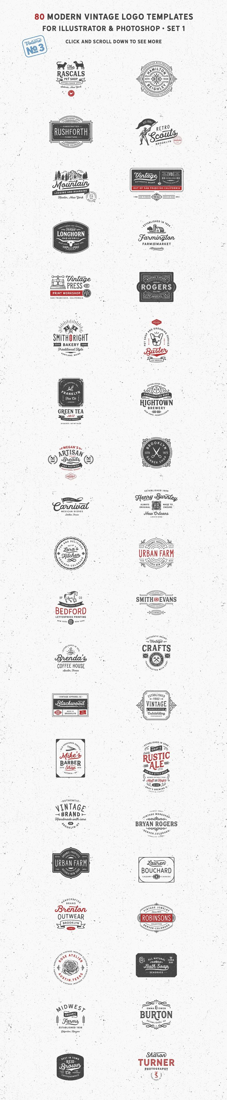 Mega bundle of detailed vintage / retro logos and label templates. A great option for breweries, gift shops, bakeries, restaurants, and cafes.