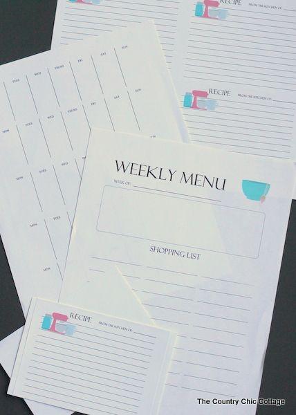 無料印刷可能な毎週メニュープランナーシステム - だけでなく、無料の印刷可能なレシピカードが含まれています!