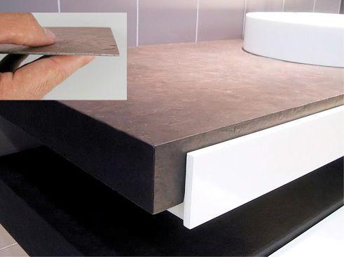 bancada revestida de lamina de pedra flexível