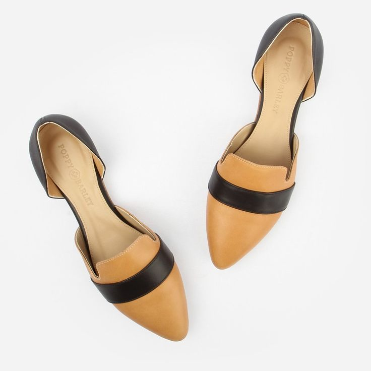 The D'Orsay Flat - black and brown leather womens flat - Poppy Barley