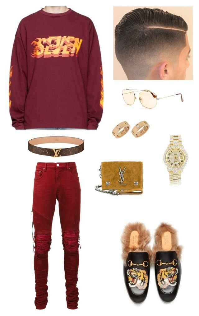 """Rock"" by chawkideida ❤ liked on Polyvore featuring Gucci, AMIRI, Yves Saint Laurent, RetroSuperFuture, Cartier, Rolex, men's fashion and menswear"
